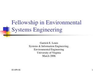 Fellowship in Environmental Systems Engineering