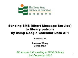 Sending SMS (Short Message Service)  to library patrons  by using Google Calendar Data API