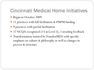 Cincinnati Medical Home Initiatives