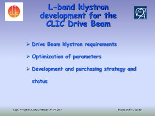 L-band klystron development for the  CLIC Drive Beam
