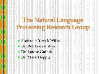 The  Natural Language Processing Research Group