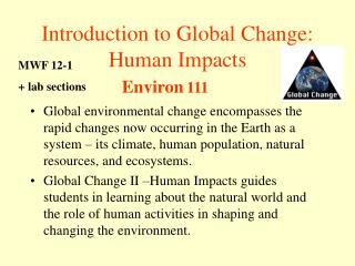 Introduction to Global Change:  Human Impacts