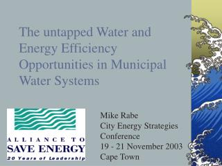 The untapped Water and Energy Efficiency Opportunities in Municipal Water Systems