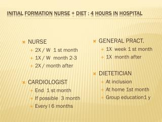 Initial formation nurse +  diet  : 4  hours  in  hospital