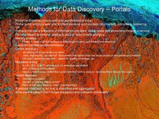 Methods for Data Discovery – Portals