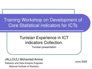 Training Workshop on Development of Core Statistical indicators for ICTs