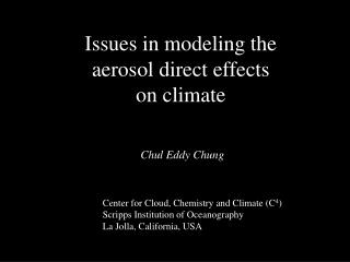 Issues in modeling the aerosol direct effects on climate