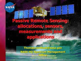 Passive Remote Sensing: allocations, sensors, measurements and applications
