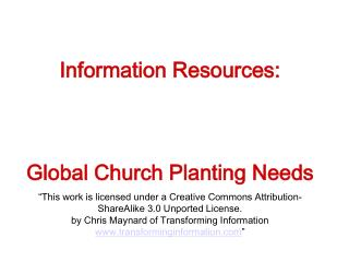 Information Resources: Global Church Planting Needs