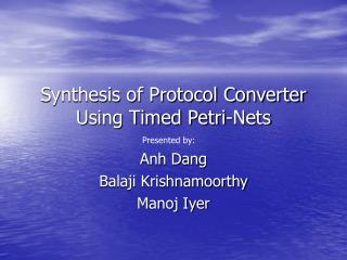 Synthesis of Protocol Converter Using Timed Petri-Nets