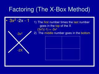 Factoring (The X-Box Method)