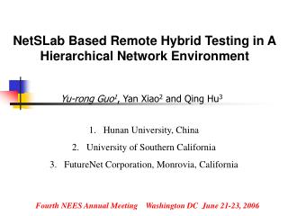 NetSLab Based Remote Hybrid Testing in A Hierarchical Network Environment