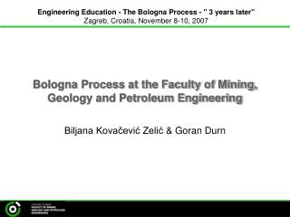 Bologna Process at the Faculty of Mining, Geology and Petroleum Engineering