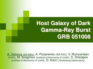Host Galaxy of Dark Gamma-Ray Burst GRB 051008