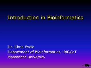 Introduction in Bioinformatics