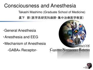 ・ General Anesthesia ・ Anesthesia and EEG ・ Mechanism of Anesthesia -GABA A  Receptor-