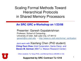 Scaling Formal Methods Toward  Hierarchical Protocols  in Shared Memory Processors