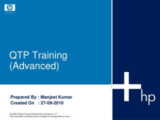QTP Training (Advanced)
