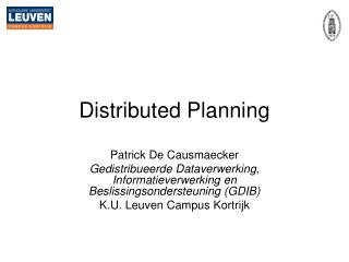Distributed Planning