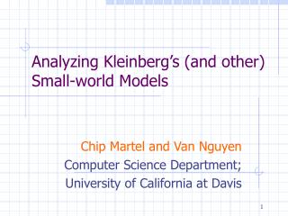 Analyzing Kleinberg s and other Small-world Models