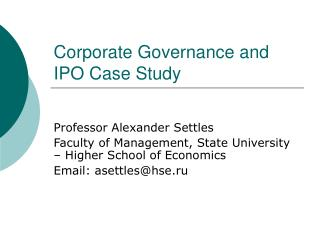 Corporate Governance and IPO Case Study