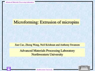 Microforming: Extrusion of micropins