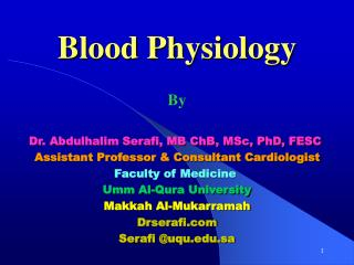 Blood Physiology