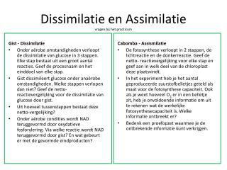 Dissimilatie en Assimilatie vragen bij het practicum