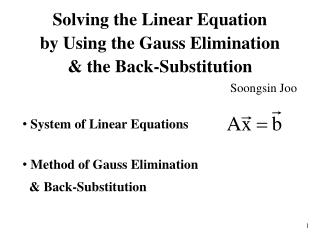 System of Linear Equations