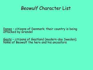 Beowulf  Character List