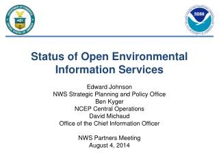 Status of Open Environmental Information Services