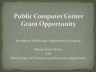 Public Computer Center Grant Opportunity