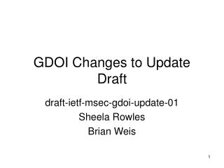 GDOI Changes to Update Draft