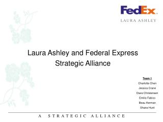 case 6 2 laura ashley and federal express strategic alliance Laura ashley and federal express strategic alliance evaluate the decision to enter a strategic alliance from the perspective of both laura ashley and federal express evaluate the structure of the partnership.