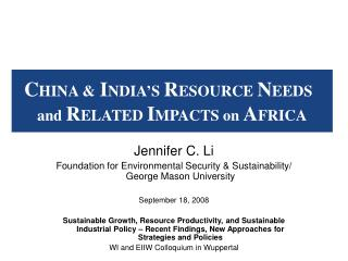 Jennifer C. Li Foundation for Environmental Security & Sustainability/ George Mason University
