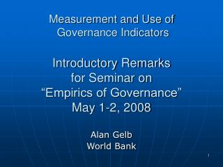 Alan Gelb World Bank