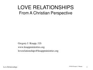 LOVE RELATIONSHIPS From A Christian Perspective