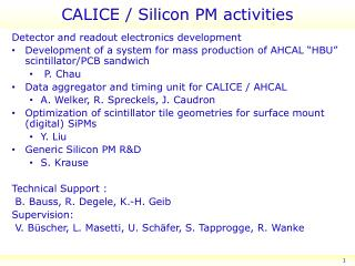 CALICE / Silicon PM activities