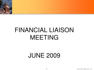 FINANCIAL LIAISON MEETING  JUNE 2009