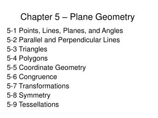 Chapter 5 – Plane Geometry