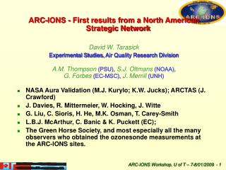 ARC-IONS - First results from a North American Strategic Network David W. Tarasick