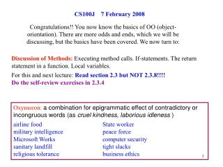 CS100J 7 February 2008