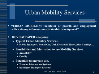 Urban Mobility Services