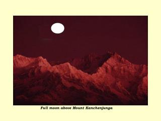 Full moon above Mount Kanchenjunga