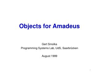 Objects for Amadeus