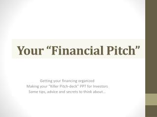 "Your ""Financial Pitch"""
