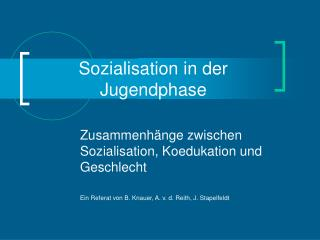Sozialisation in der Jugendphase