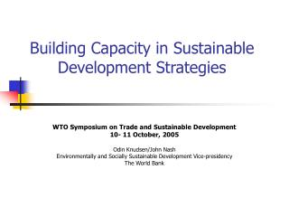 Building Capacity in Sustainable Development Strategies