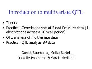 Introduction to multivariate QTL