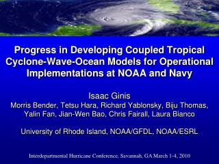 Interdepartmental Hurricane Conference, Savannah, GA March 1-4, 2010